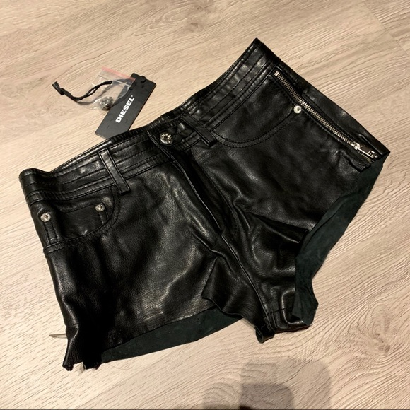 Diesel Pants - Brand New Diesel Leather Shorts Size 25